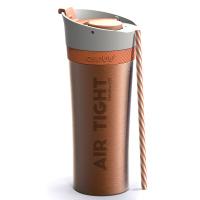 Удобна двустенна термо чаша Asobu Fresh N Go с вакуумна изолация и Аir Pump система 500мл, в оранжев цвят
