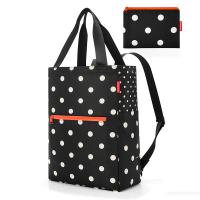 Сгъваема портативна чанта и раница Reisenthel Mini maxi 2-in-1, черно-бяла на точки