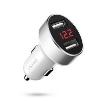 Бяло USB зарядно за кола 12V Usams C1 2.1A, Digital Display