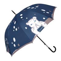 Син голям луксозен черен дамски чадър тип бастун Maison Perletti