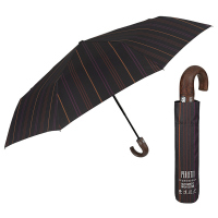 Изискан кафяв мъжки чадър с извита дръжка Perletti Technology