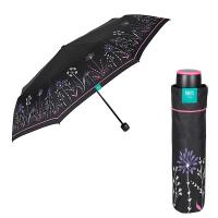Черен неавтоматичен дамски чадър на лилави цветя Perletti Time
