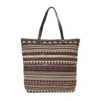 Плажна чанта в цвят бордо с геометрични фигури и декорация от черни пайети HatYou
