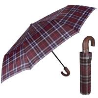 Стилен мъжки чадър с извита дръжка в цвят бордо Perletti Technology