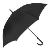 Черен мъжки цял чадър с извита дръжка Perletti Time