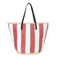 Плетена плажна чанта от хартиен канап HatYou, червено райе
