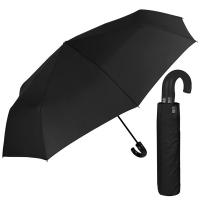 Изискан черен мъжки чадър с извита дръжка и голям диаметър Perletti Technology