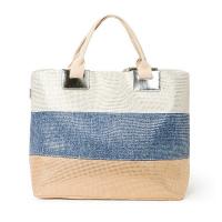 Плажна чанта в бежово, синьо и бяло със златни нишки HatYou