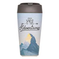 Голяма биоразградима еко чаша с капак за кафе Chic Mic 420мл, Say yes to new Adventures