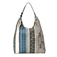 Памучна плажна чанта с етно мотиви в маслиново зелено и тюркоаз HatYou