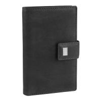 Голям черен дамски кожен портфейл Mano Pecunia, вертикален