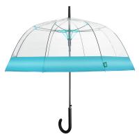 Дамски прозрачен автоматичен чадър Perletti Time със светлосин кант