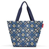 Практична синя дамска чанта за пазар Reisenthel Shopper М, floral 1