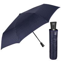 Изискан голям тъмносин мъжки чадър Perletti Technology, голямо каре