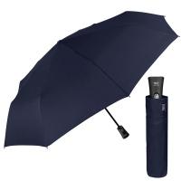 Стилен мъжки тъмносин сгъваем автоматичен чадър Perletti Technology