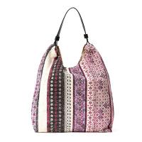 Памучна плажна чанта с етно мотиви в циклама и лилаво HatYou