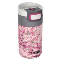 Дамска розова термочаша за кафе или чай Kambukka Etna 300мл, листа на монстера
