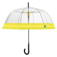 Дамски прозрачен автоматичен чадър Perletti Time с жълт кант
