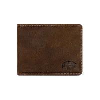 Изискан мъжки портфейл от естествена кожа с място за монети и карти Klondike PETER в тъмнокафяво