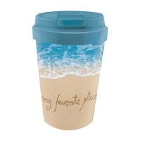 Синя биоразградима еко чаша с капак за кафе Chic Mic 350мл, My favourite place