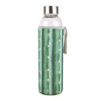 Стъклена бутилка за вода с неопренов калъф - кактус, 600мл