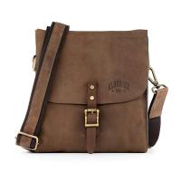 Кафява мъжка вертикална чанта с капак от естествена кожа Klondike BRAD