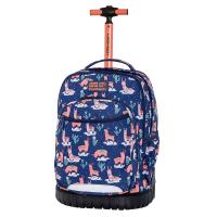 Раница на колела за училище в синьо и розово CoolPack Swift - Llamas