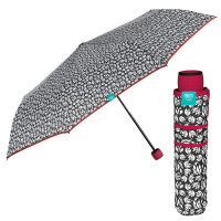Черно-бял дамски чадър с цикламена дръжка и кант Perletti Time