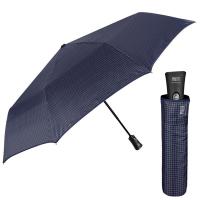 Изискан голям тъмносин мъжки чадър Perletti Technology, малко каре