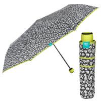 Черно-бял дамски чадър с яркозелена дръжка и кант Perletti Time