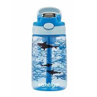 Светлосиня малка детска бутилка за вода за момче CONTIGO Easy Clean Акули, 420мл