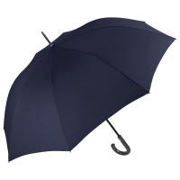 Изискан голям тъмносин мъжки цял чадър с извита дръжка Perletti Technology