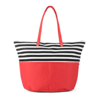 Червена плажна чанта с черно-бели райета HatYou