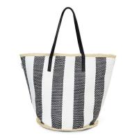 Черно-бяла плетена плажна чанта от хартиен канап HatYou, райе