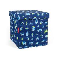 Детска табуретка с място за съхранение Reisenthel Sitbox Kids ABC Friends, синя