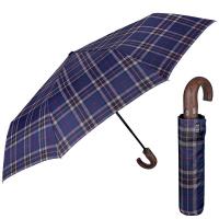 Стилен син мъжки чадър с извита дръжка Perletti Technology