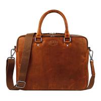 Стилна бизнес кожена чанта за документи и лаптоп Klondike EARL, цвят коняк