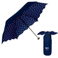 Малък портативен дамски сгъваем тъмносин чадър Perletti Chic за пътуване