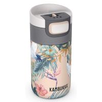 Дамска малка термочаша за кафе или чай Kambukka Etna 300мл, райски цветя