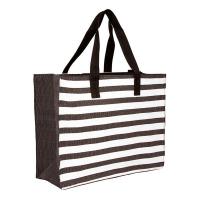 Плажна чанта черно райе HatYou 50см, черно бяла