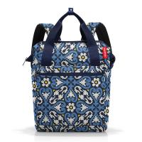 Синя раница и пътна чанта за ръчен багаж с флорални елемнти Reisenthel Allrounder R, floral