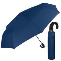 Изискан син мъжки чадър с извита дръжка и голям диаметър Perletti Technology