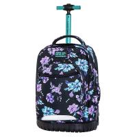 Черна раница на колела за училище на лилави цветя CoolPack Swift - Violet Dream