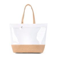 Голяма бяла плажна чанта с голям прозрачен джоб HatYou
