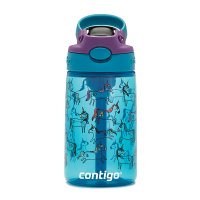 Синя малка детска бутилка за вода за момиче CONTIGO Easy Clean Еднорози, 420мл