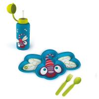 Детски комплект за хранене от чинийка, прибори и бутилка Oops, водно конче