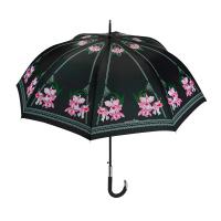 Луксозен черен дамски чадър с розови орхидеи Maison Perletti Orchid