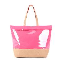Голяма цикламена плажна чанта с голям прозрачен джоб HatYou