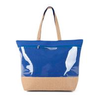 Голяма синя плажна чанта с голям прозрачен джоб HatYou