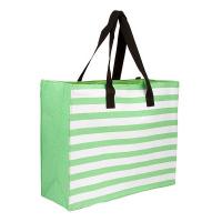 Плажна чанта зелено райе HatYou 50см